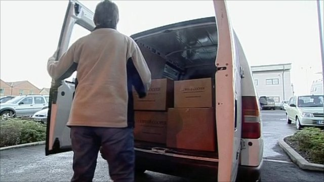 Parcels in a delivery van