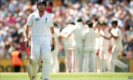 Ian Bell walks off after his dismissal