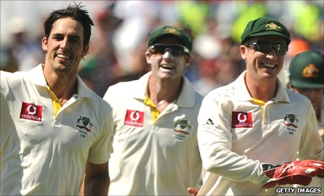 Mitchell Johnson (left), Mike Hussey (centre) and Brad Haddin (right)
