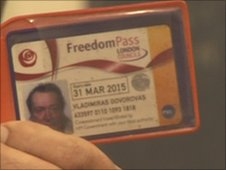 Vladimiras' Freedom Pass which he proudly still carries