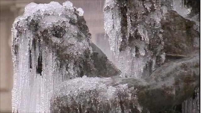 An icy fountain in Rome