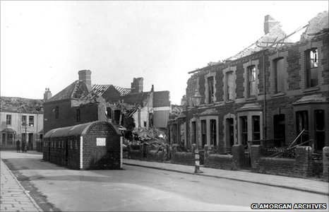 Bomb damage in Blackstone Street, Cardiff, 1941
