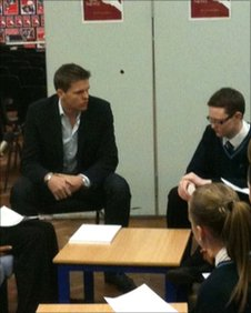BBC presenter Jake Humphrey at Bartley Green School