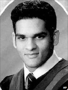 A school yearbook photo of Momin Khawaja