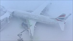 A frozen plane at Heathrow Airport