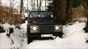 4x4 vehicle in snow