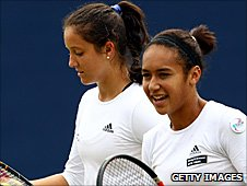 Laura Robson and Heather Watson playing at the Aegon Classic in Birmingham in June