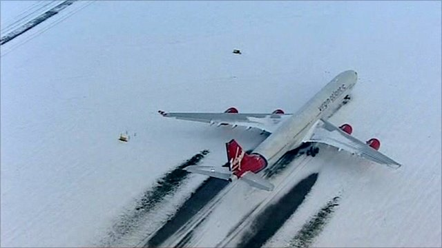 Plane on runway in snow