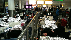 People sleeping at Heathrow Terminal 3