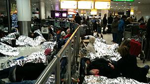 People sleeping at Heathrow Terminal 3