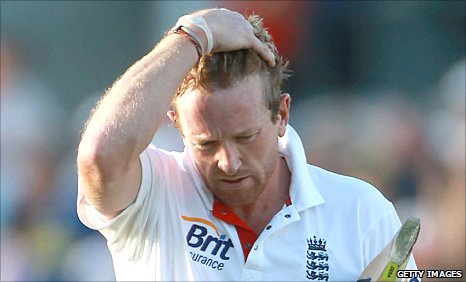 Paul Collingwood is dismissed in Perth