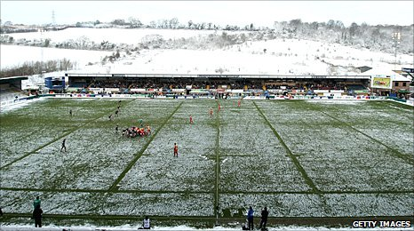 Adams Park covered in snow