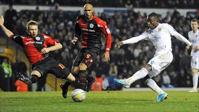Max Gradel scores for Leeds against QPR
