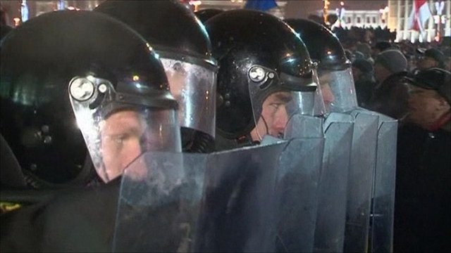 Riot police descended on Minsk and there were reports of mass arrests