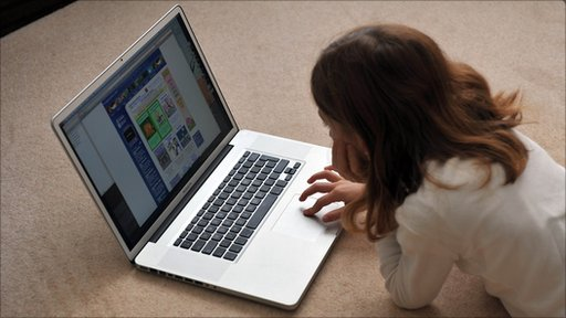 Young girl browsing the internet