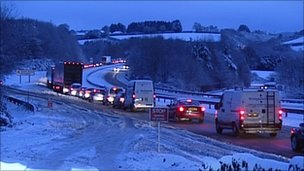 Traffic stuck on the A38 at South Brent, 20 December 2010