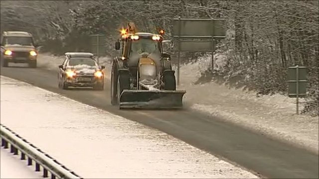Snow plough on A38