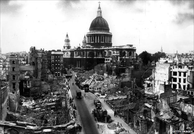 St Paul's Cathedral amid the devastation