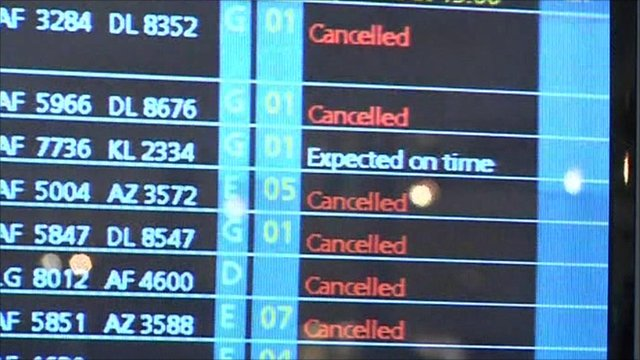 Snowy weather cancels dozens of flights across Europe