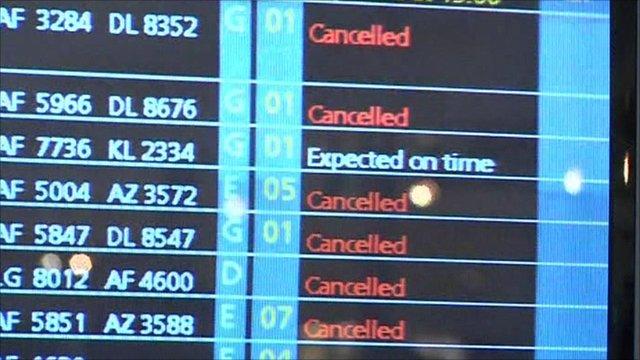 Snowy weather cancels dozens of flights across Europe