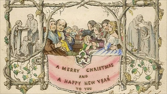 The first commercial Christmas card - sent in 1843