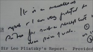 Margaret Thatcher's note about Sir Leo Pliatzky's report on quangos