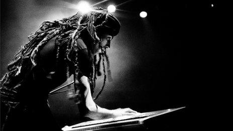 Israeli musician Idan Raichel at the keyboard. Photo by Nitzan Treystman
