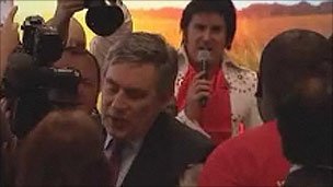 Gordon Brown and Elvis impersonator