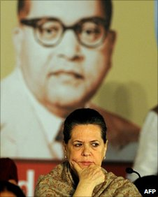 Congress Party President Sonia Gandhi listens to Manmohan Singh (unseen) in Delhi on 20 December 2010