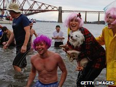 Swimmers by the Forth Rail Bridge