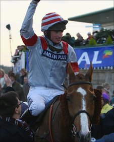 Tom O'Brien celebrates after riding Dream Alliance