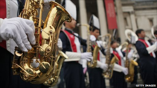 A band plays at the New Year's Day Parade in London.