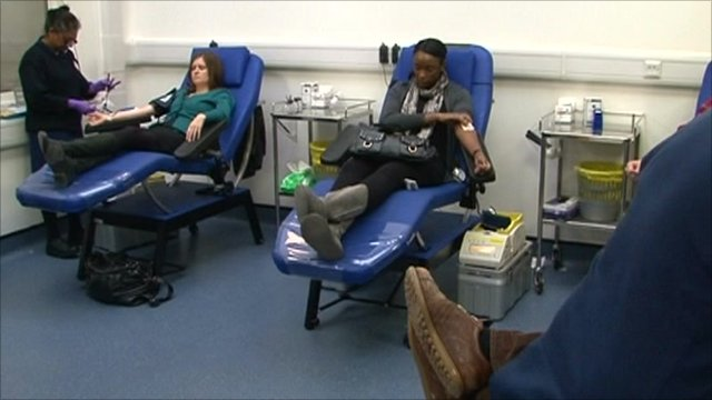 A blood donation centre in London