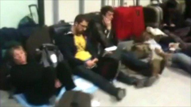 Passengers in Heathrow terminal 3