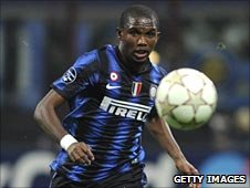 Samuel Eto'o in action for Inter Milan.