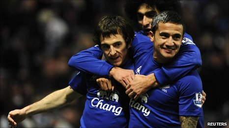 Cahill and Baines celebrate
