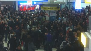 Passengers in a Gatwick terminal - pic by Martine Gurbhoo