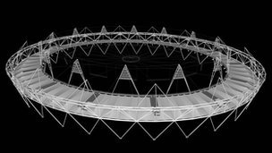Graphic of the lighting ring and roof covering at the Olympic Stadium. Image: Populous