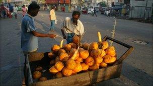 Coconut vendor in Colombo, the Sri Lanka capital