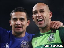 Tim Cahill and Tim Howard