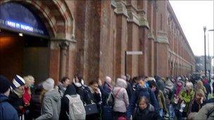 Passengers outsided Kings Cross