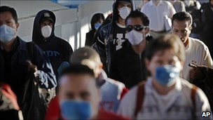 Crowd wearing face masks
