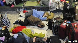 Passengers sleeping at Heathrow on 21 December 2010