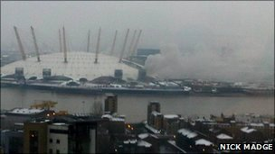 Smoke from the fire near the O2