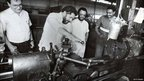 Lula da Silva works a lathe during a campaign in the Brazilian presidential elections, 1989.