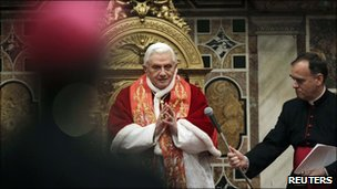 Pope Benedict XVI delivers his Christmas message to the Curia in the Vatican&#039;s Regia Hall, 20 December 2010