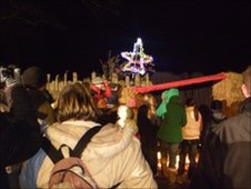 People taking part in a nativity event in Flintshire