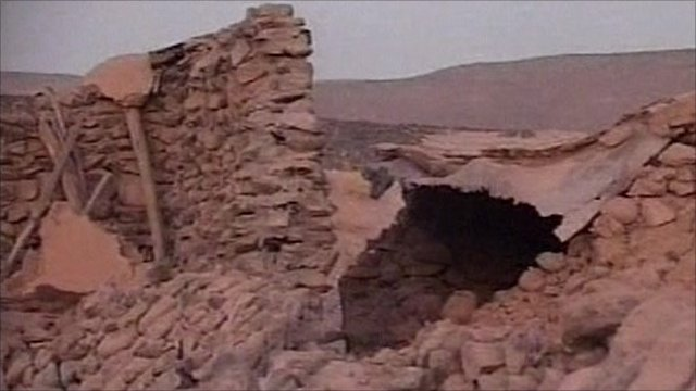 Collapsed wall in Kerman province in Iran