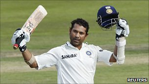 Sachin Tendulkar after scoring his 50th 100 in Test cricket