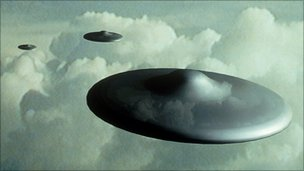 Computer illustration of flying saucers